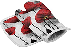 Chic D Kitchen Oven Mitts Gloves and Pot Holders Sets, Red Poppies Flowers Ink Painting Heat Resistant Oven Mittens and Potholders Hot Pads Set Non-Slip for Cooking BBQ Baking Grilling