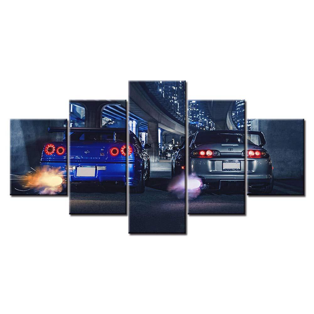 CANVANUK Quadro su Tela 5 Pezzi HD Wall Art Stampato GTR R34 VS Supra Vehicle Home Decor Poster