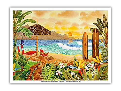Surfing the Islands - Tropical Beach Paradise - Hawaii - Hawaiian Islands - From an Original Watercolor Painting by Robin Wethe Altman - Master Art Print - 9in x 12in