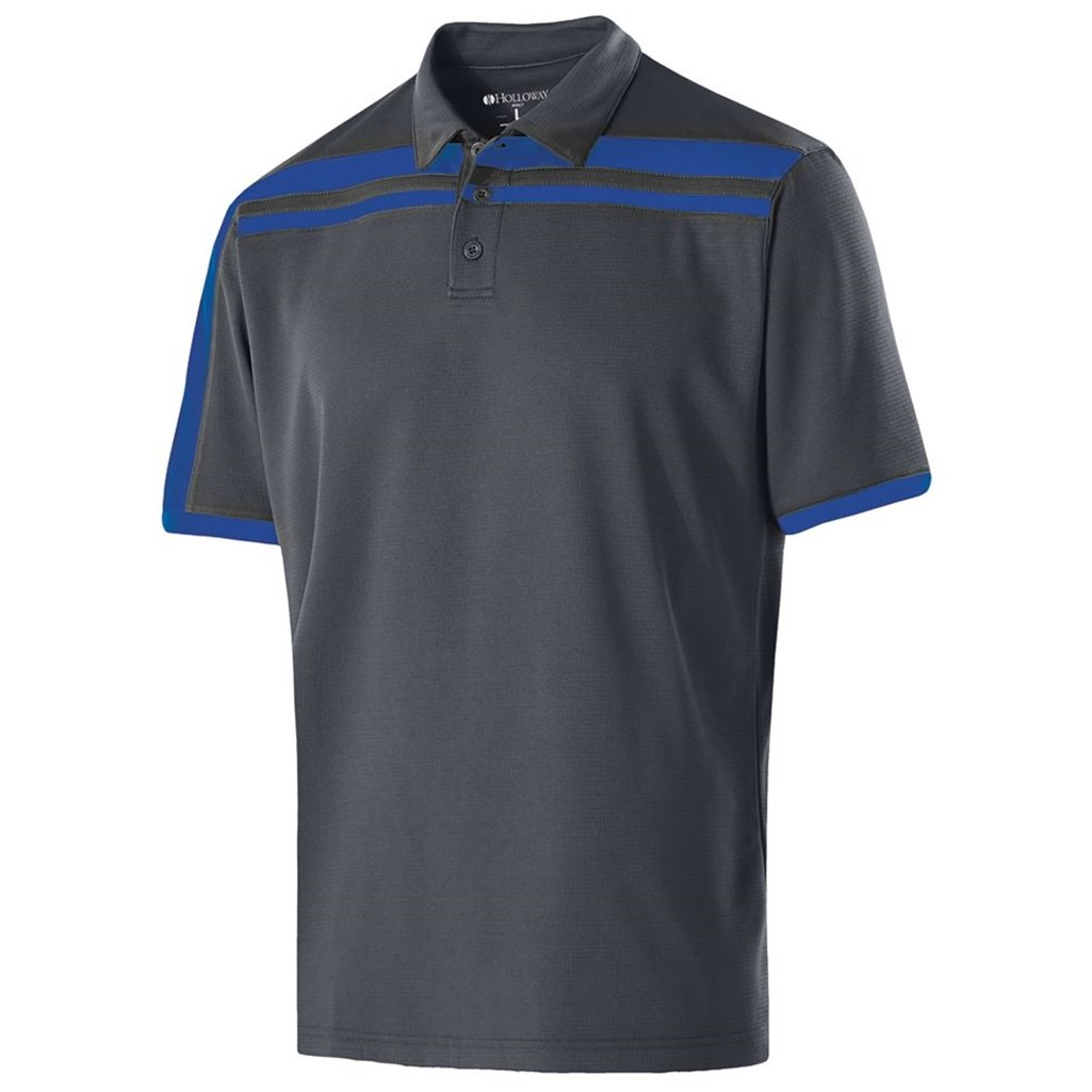Holloway Dry-Excel Mens Charge Polo (Large, Carbon/Royal) by Holloway