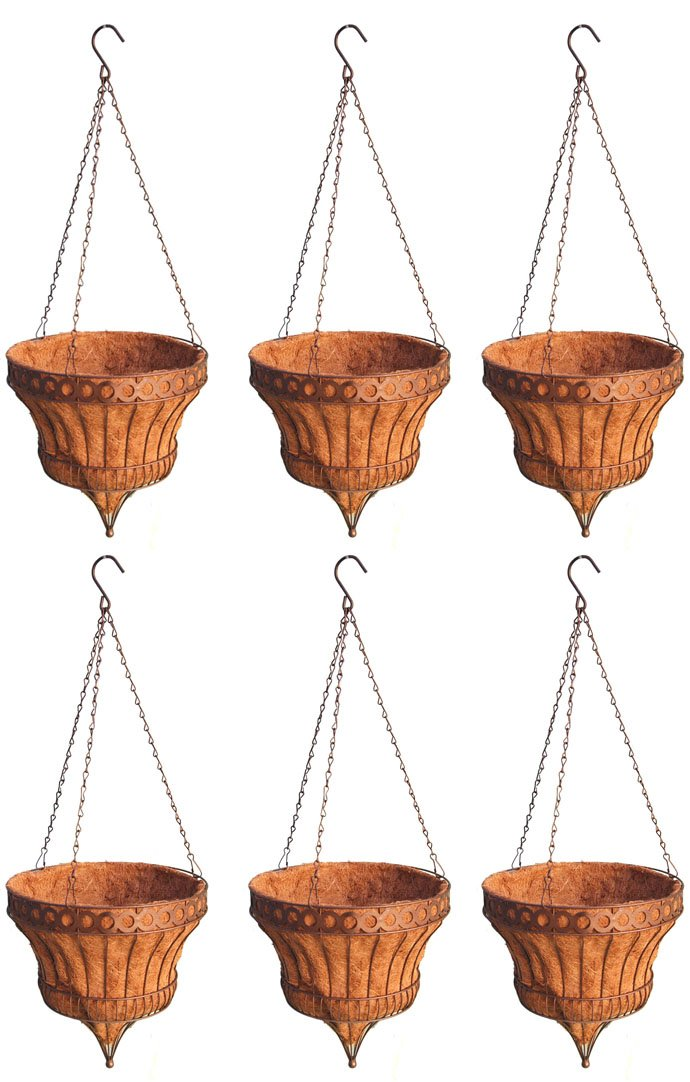 6 Planter Pack Set - Queen Elizabeth Parasol Hanging Basket - Rustic Brown 14 Inch Diameter by Topiary Art Works