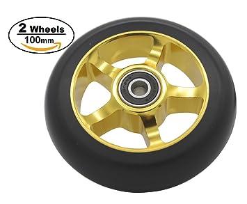 Ruedas de repuesto de 100 mm para scooter profesional, con rodamientos ABEC-9, 2 piezas: Amazon.es: Deportes y aire libre