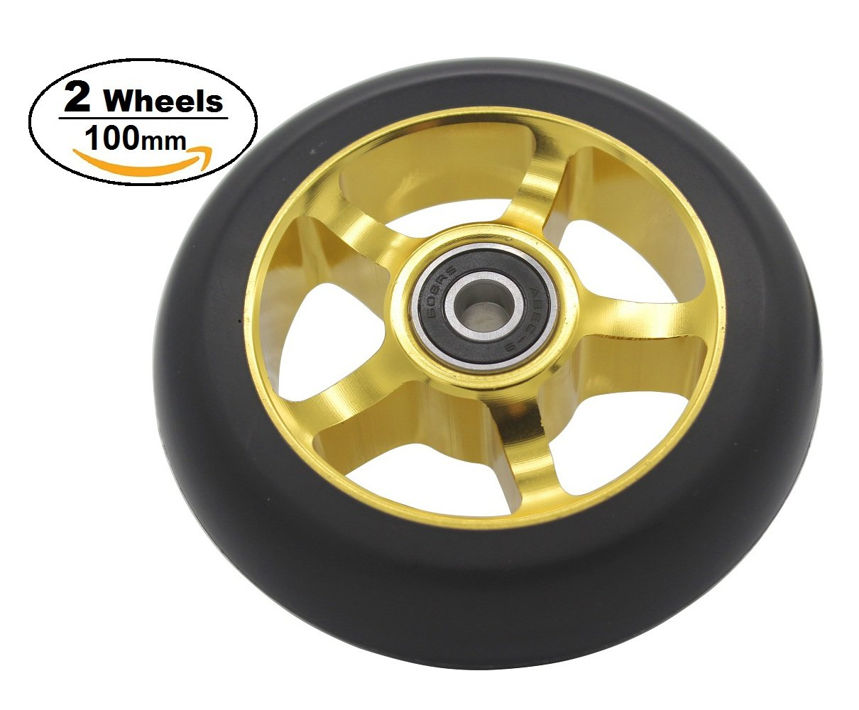 2Pcs Replacement 100 mm Pro Stunt Scooter Wheel with ABEC 9 Bearings Fit for MGP//Razor//Lucky Pro Scooters