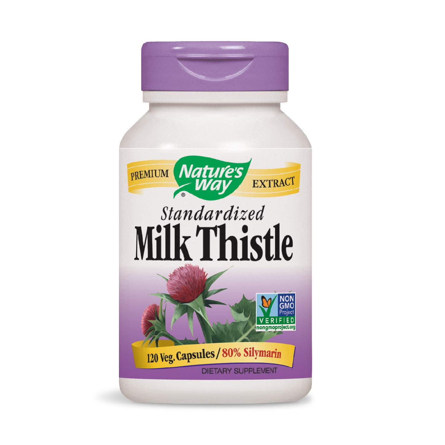 Nature s Way Standardized Milk Thistle 80 Silymarin per serving TRU-ID Certified Non-GMO Project Verified Vegetarian 120 Vegetarian Capsules.