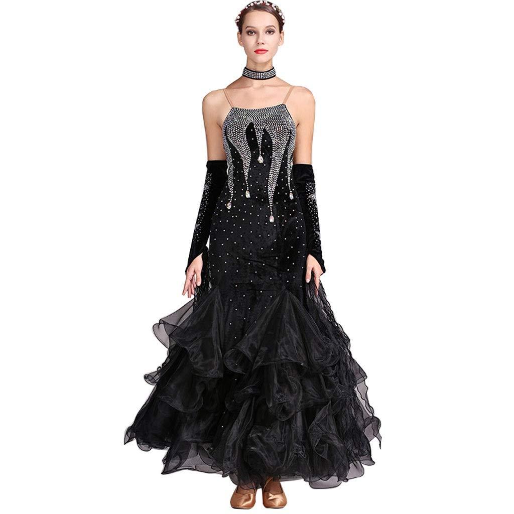 noir XX-grand LXYFMS Robe de Concours de Danse pour Femmes, Costume de Danse Moderne, Costume de Valse, Grande balançoire avec Diahommets (Couleur   Dark vert, Taille   M)