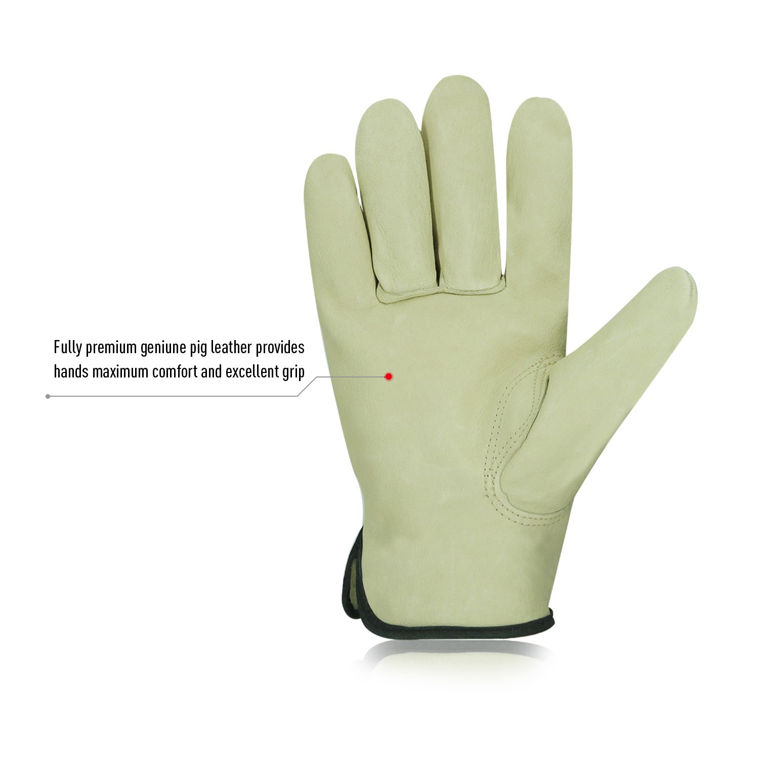Vgo 3Pairs Unlined Men's Pigskin Leather Work Gloves, Drivers Gloves(Size M,Light Cyan,PA9501) by Vgo... (Image #2)