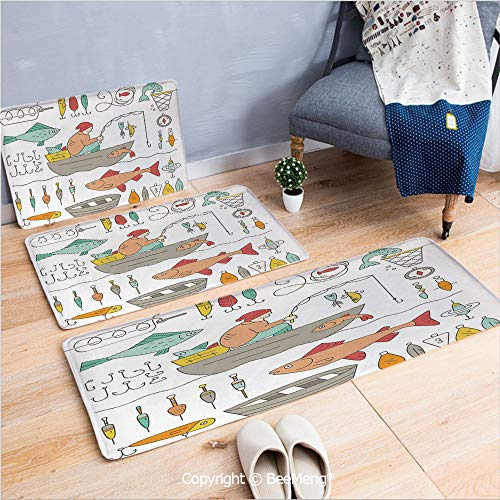 (3 Piece Indoor Modern Anti-Skid Carpet Printed Block Bathroom Carpet,Decor,Fishing Gear Fisherman in The Boat Catching Fish Rod Bobber Tackle Hook Clip Work,20x31/20x59/28x55 inch)