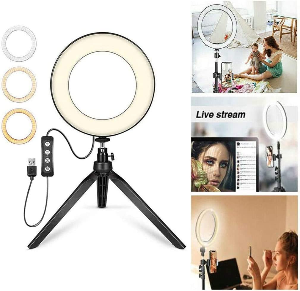 1 Light and Desktop Stand lazinem Broadcast Live Photography Fill Light LED Camera Phone Flash Dimmable Light On-Camera Video Lights