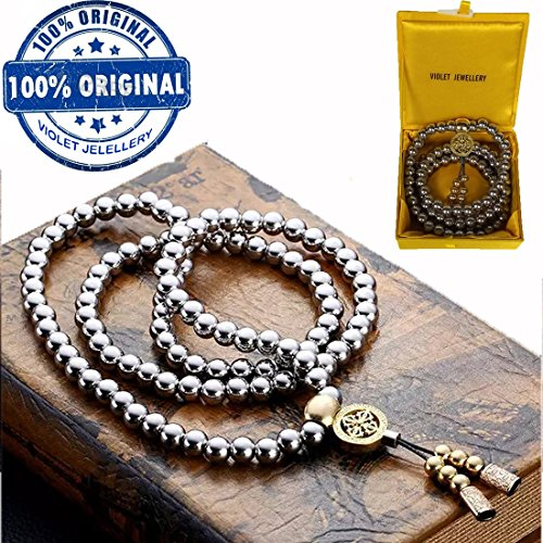 Self Defense Knuckles (VIOLET JEWELLERY Outdoor Self Defense 108 Buddha Beads Necklace Chain --Full Stainless Steel Beads)