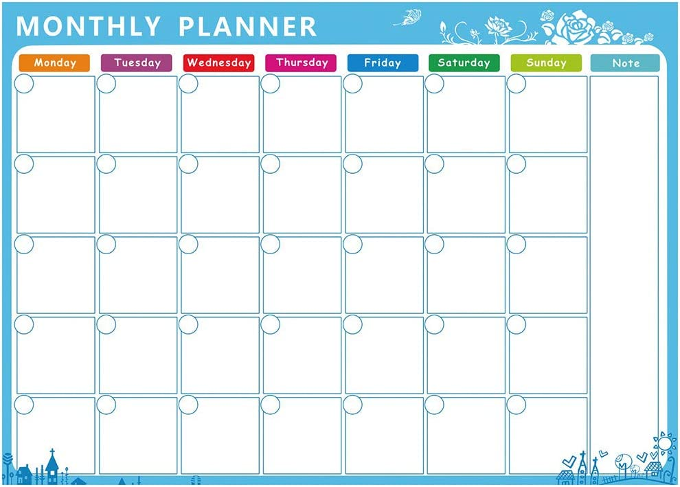 "AxiBa Weekly Multi-Purpose Magnetic Refrigerator Calendar Board Dry Erase Black Chalkboard Board 11.7""x16.5"" - Multi Purpose Smart Job Planner to Do List Schedule Board Grocery List (Whiteboard, B)"