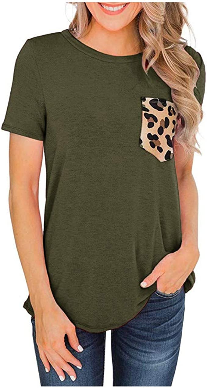 ZXjymll//~ Womens Blouse Plus Size Printed Tops Casual Short Sleeve T Shirts Basic Tunics