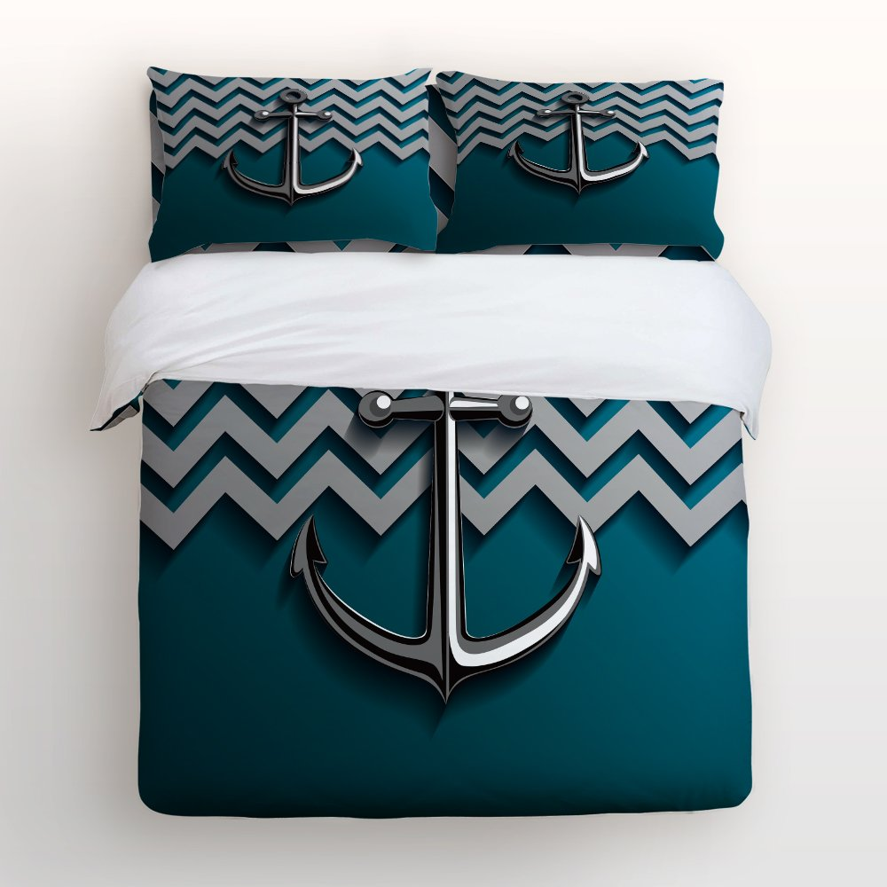 Libaoge 4 Piece Bed Sheets Set, Metallic Anchor on Zig Zag Chevron Background , 1 Flat Sheet 1 Duvet Cover and 2 Pillow Cases