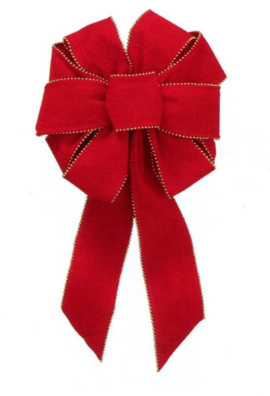 9'' x 16'' Deluxe Red Indoor Velveteen 10 Loop Christmas Bow with Gold Bead Trim