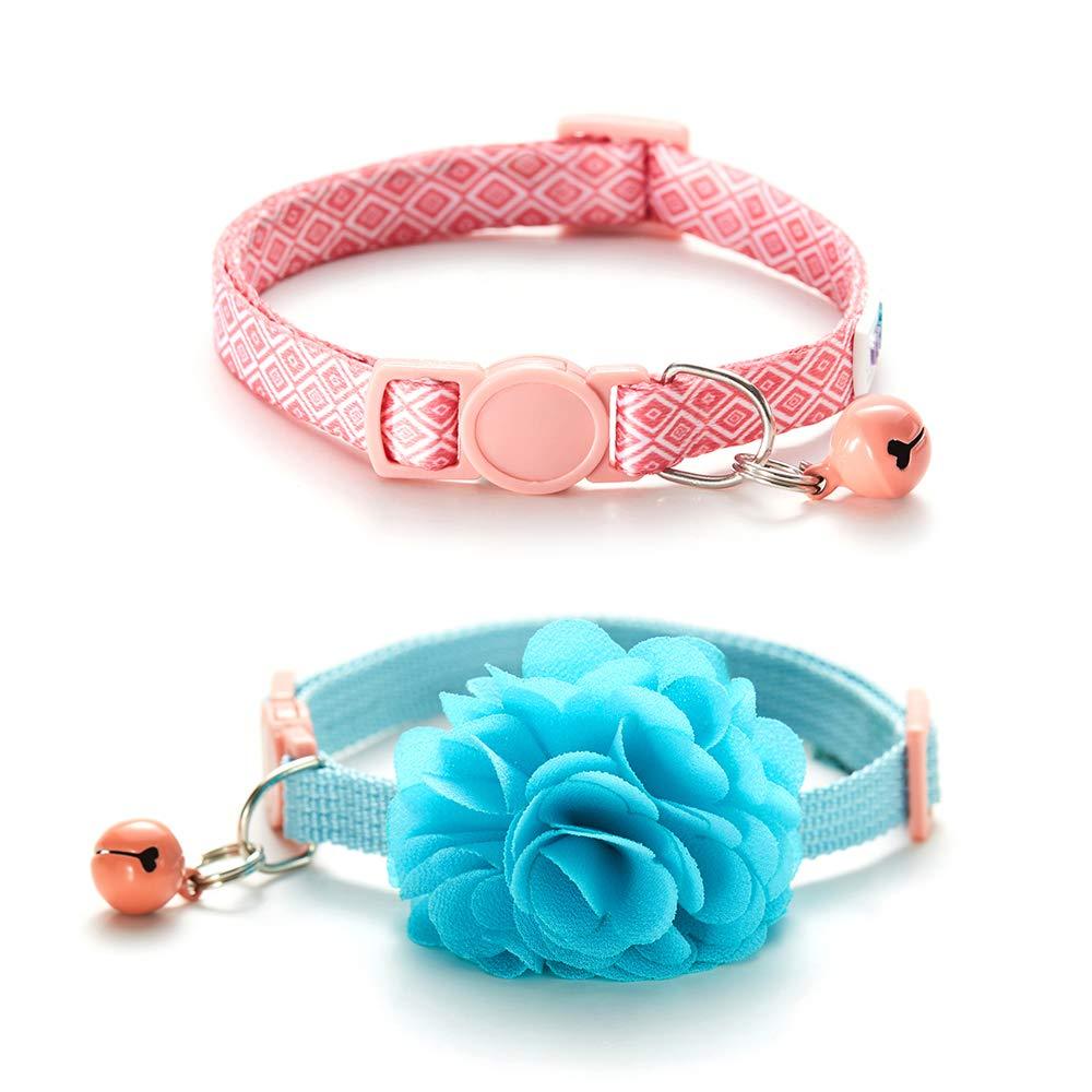 Bluerise 2Pcs Kitten Collars with Flower Breakaway Cat Collars with Bell Adjustable Strap Kitten Collars for Girls…