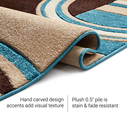 Well Woven Echo Shapes & Circles Blue & Brown Modern Geometric Comfy Casual Hand Carved Runner Rug 2x7 (2' x 7') Easy Clean Stain Fade Resistant Abstract Contemporary Thick Soft Plush Living Room Rug
