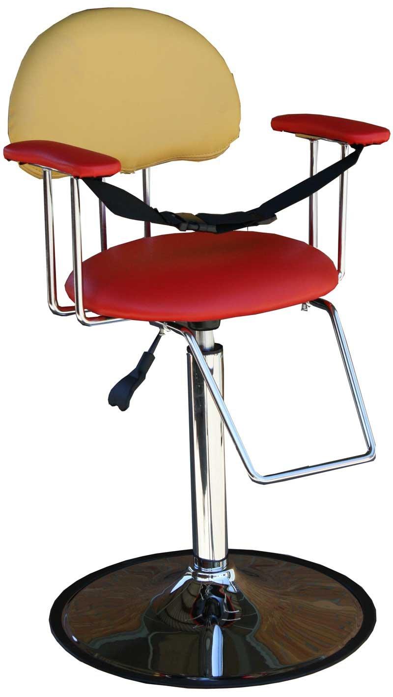 FIGARO Friseurstuhl hydraulisch höhenverstellbarer Kinderstuhl Friseurstuhl FIGARO mit Chromsockel Farbe rot   gelb c23e49