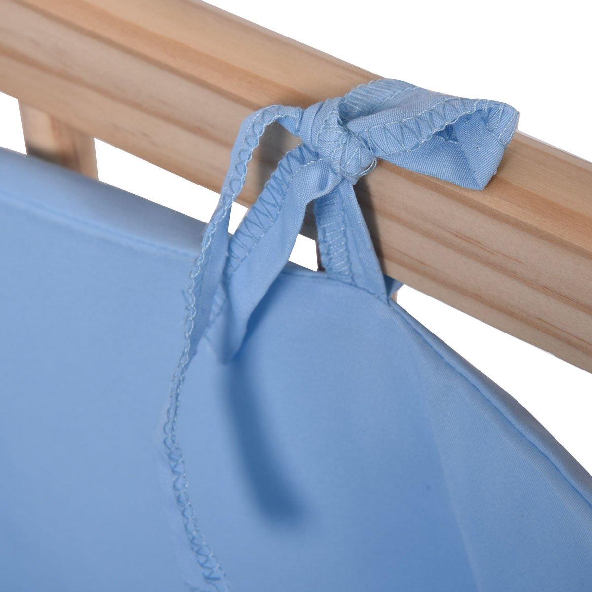 Wood Baby Crib Rocking Cradle Newborn Bassinet Bed Sleeper Portable Nursery Blue