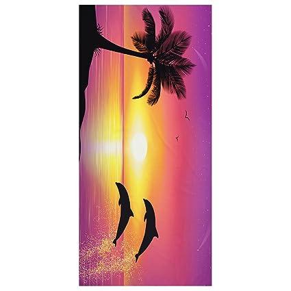 LITTHING Toalla de Baño de Playa de Microfibra Secado Rápido Suave dibujo de árbol de coco