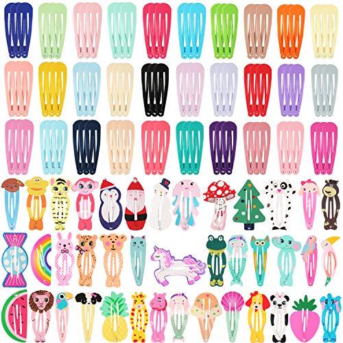 SUBANG 130 Count Snap Hair Clips No Slip Metal Snap Barrettes Animal Printed Pattern Hairpins for Girls - Snap Pattern