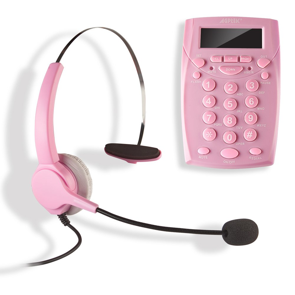 AGPtek Call Center Dialpad Corded Headset Pink Telephone with Tone Dial Key Pad & REDIAL