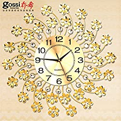 Silent Wall Clock dustproof Glass Cover Golden Wrought Iron Garden Mute Modern Minimalist Creative Clock Living Room Bedroom Large Wall Clock Fashion Clock 50cm, intuitive Digital Display