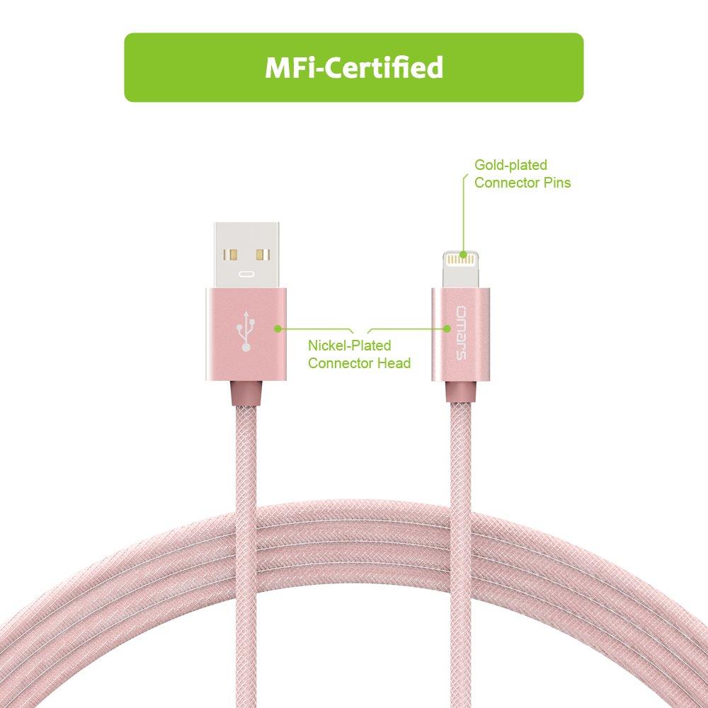 Cable Lightning vers USB en PET Ultra Durable [Certifié Apple MFi] OMARS 6ft / 1.8m Câble Synchronisation et Recharge pour iPhone 7 7 Plus 6 6S Plus SE 5 5S 5C iPad Air 2 iPad Mini