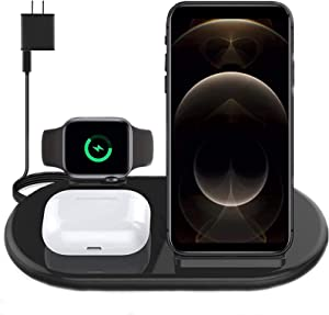 Wireless Charger 3 in 1, Wireless Charging Station Stand Compatible with Samsung Galaxy Buds, Earbuds Pro(2), Smart iWatch Series 6 5 4 3 2 1, iPhone /11/12/Pro/Max/XR/XS (with QC 3.0 Adapter)