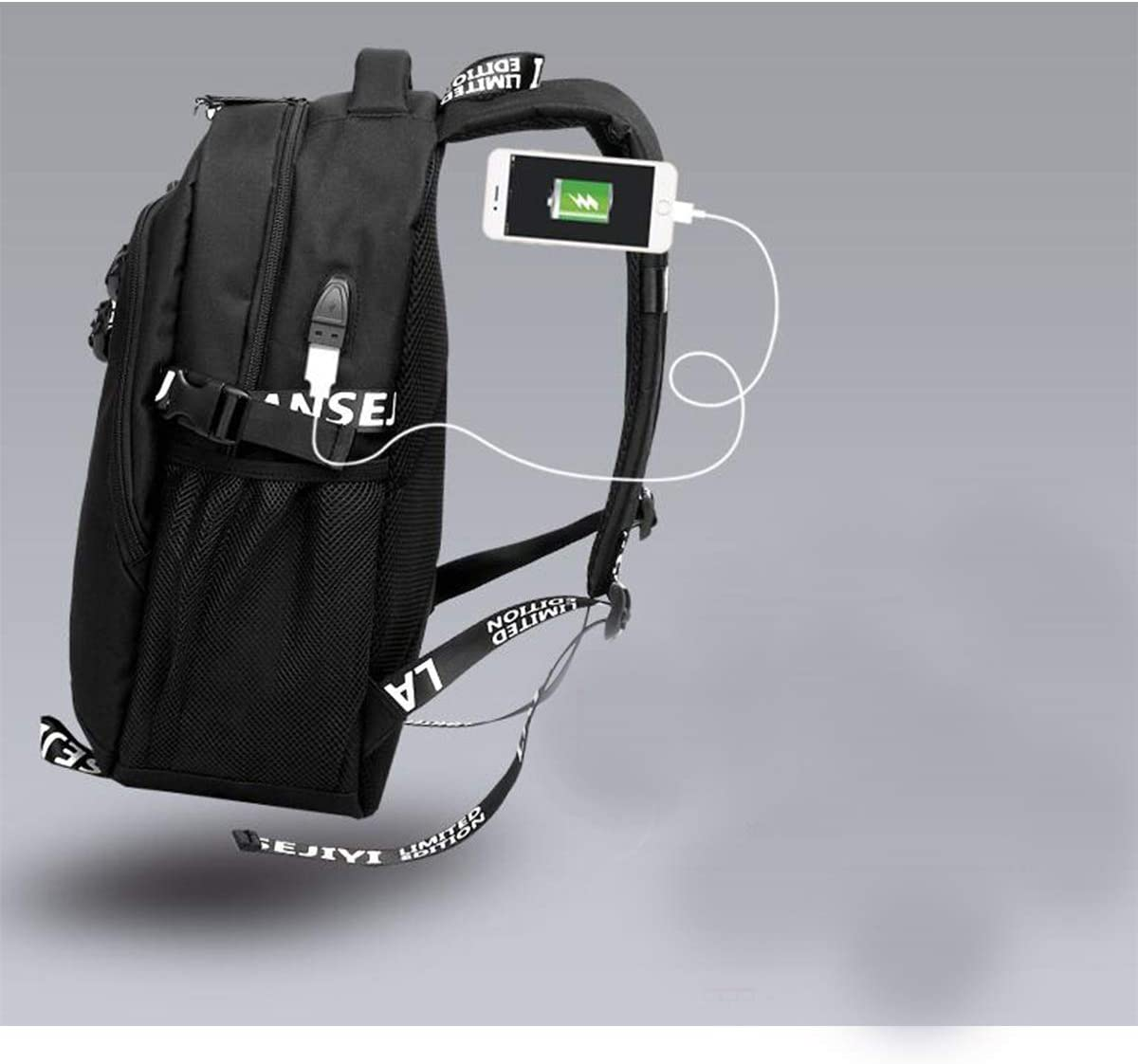 Outdoor Backpack Couple Backpack,Black//Gray Color : Black Charging Interface Wulianshangmao Mens and Womens Outdoor Sports Backpack USB
