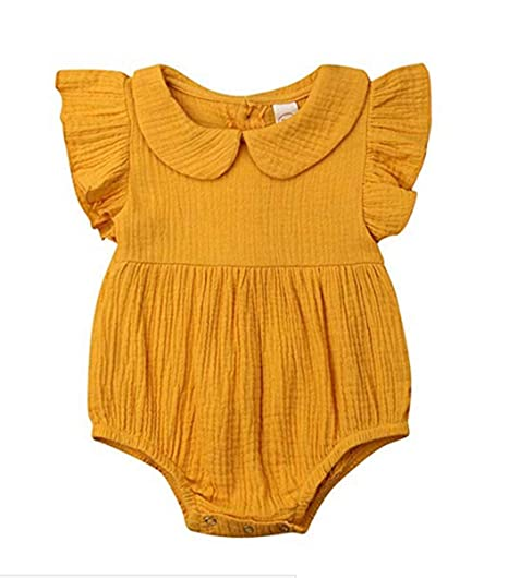 a17eb69e12e9 Image Unavailable. Image not available for. Color  Dookingup Newborn Infant  Baby Girls 2pcs Outfits Yellow Romper Ruffles Sleeve Bodysuit Jumpsuit