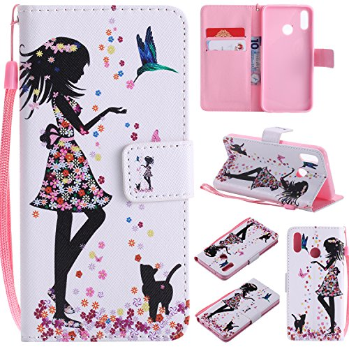 Ostop Colorful Painted Leather Wallet Case for Huawei P20 Lite,[Kickstand Feature] Flower Girl Printed White PU Magnetic Flip Cover with Card Slots Wrist Strap Shockproof ()