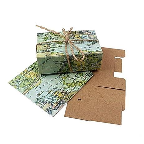 mexidi 50pcs candy box around the world map vintage kraft paper wedding supplies