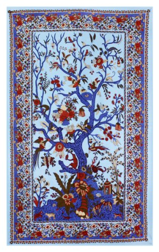 Sunshine Joy Tree Of Life Indian Tapestry Beach Sheet Hanging Wall Art 60x90 Inches (Blue)