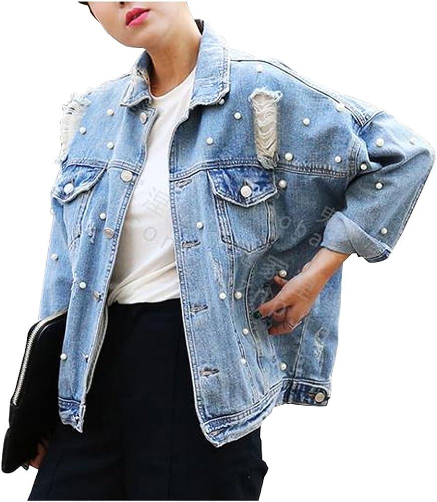 CYSTYLE Damen Löcher Jeansjacke Übergangsjacke Jacke Denim