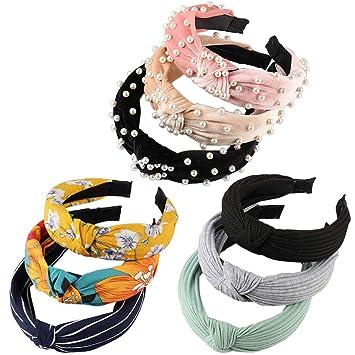 Women lady Girl Navy Blue Chiffon Floral Bow Wide Hair Head band Headband Hoop
