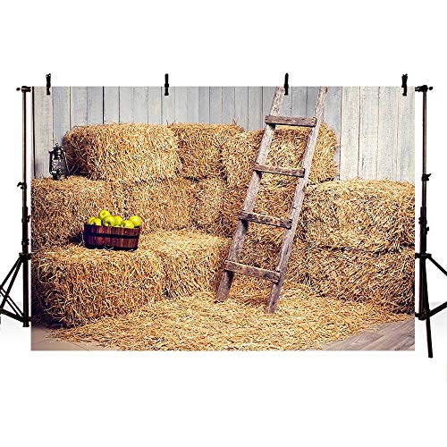 COMOPHOTO Autumn Backdrop Grain Pile Straw Pile Decoration Haystack Halloween Photography Background 7x5ft Vinyl Harvest Season Fall Baby Photo Backdrops Pictures -