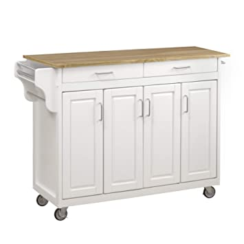Create-a-Cart White 4 Door Cabinet Kitchen Cart with Wood Top by Home Styles