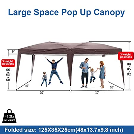 MTFY Outdoor Pop Up Canopy Tent, Portable Gazebo Canopy Tent for Party Wedding Commercial Camping Waterproof, UV Protection Shelter, Removable Sidewalls Brown 10x20ft with 4 Removable Side