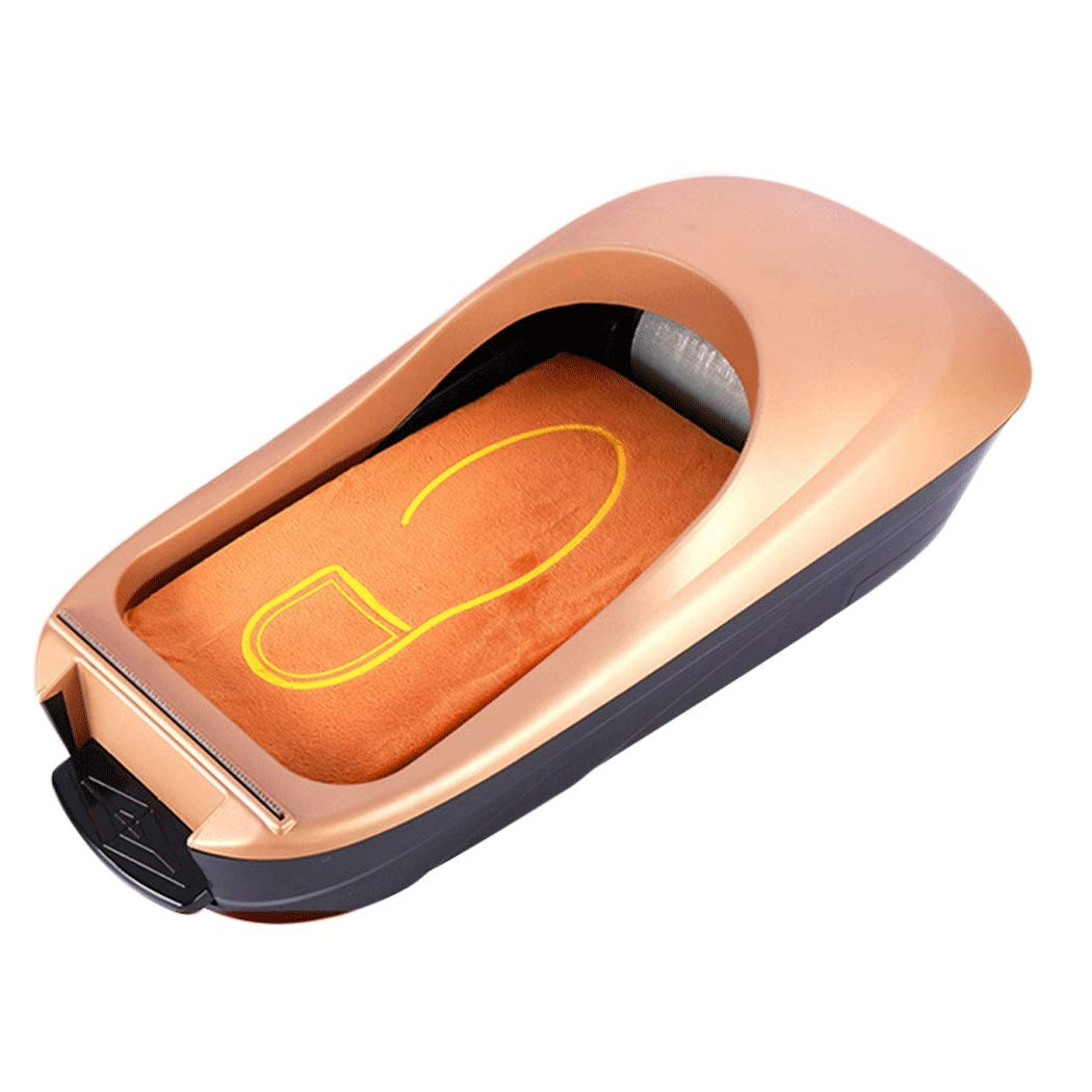 Image #1: Yongyong Golden Piano Paint Simple Wind Automatic Shoe Cover Machine Disposable Home Shoe Machine Office Foot Cover Machine Cover Shoe Machine (Including 600 Shoe Film) 60 28 17cm (Color : Gold) by Yongyong