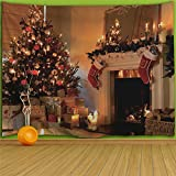 colorful star Fireplace Christmas Tree Red Socks Design Wall Hanging Tapestry,Machine-washable&Antibacterial&Eco-Friendly made of 100% Polyester Fabric,Non Toxic, Odor Free,No Fading 80''W x 60''L