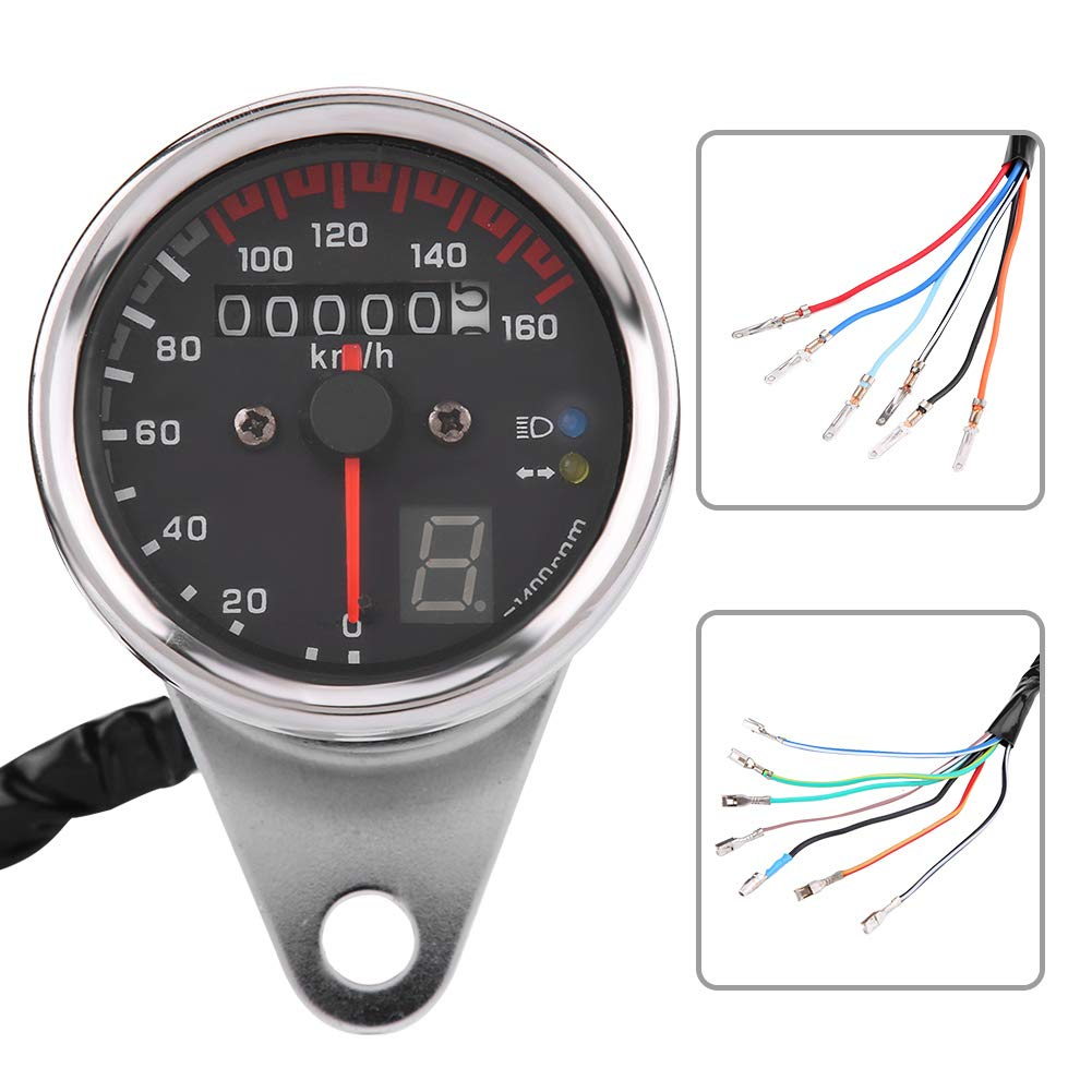 KIMISS Veloc/ímetro universal del cuentakil/ómetros digital Moto plata indicador de tac/ómetro con indicador LED