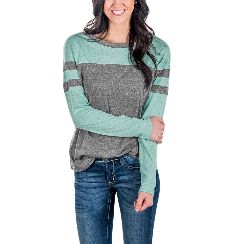 Lover-Beauty Women's Crew Neck Baseball Sleeves T-Shirt Casual Long Tunic Tops