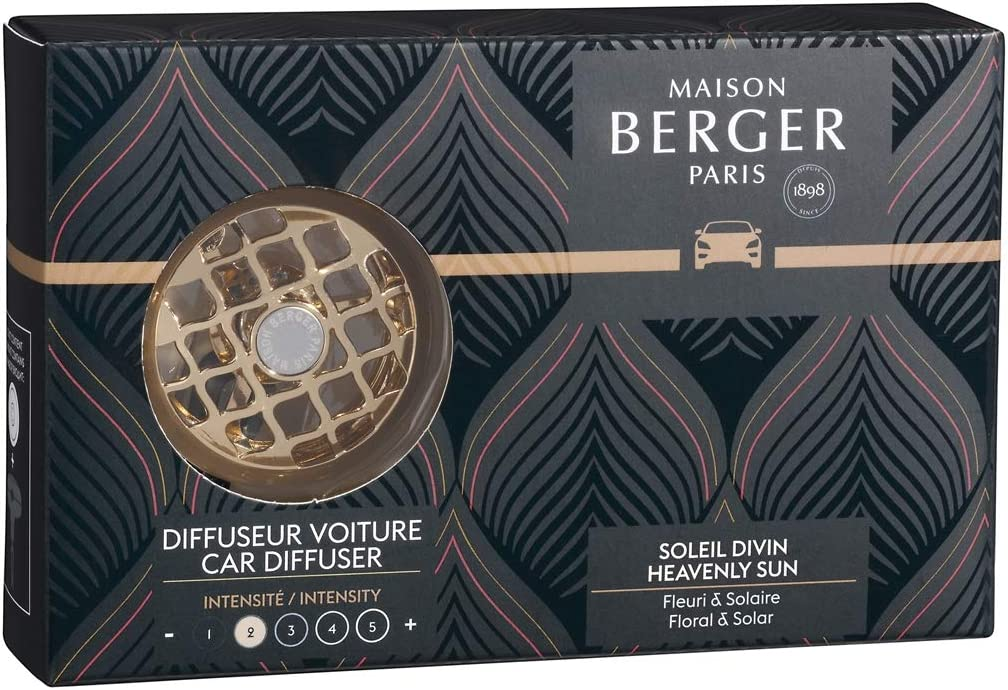 MAISON BERGER - Refillable Car Vent Clip Diffuser Set - 3.1 x 2 x 0.8 inches - Made in France (Heavenly Sun)