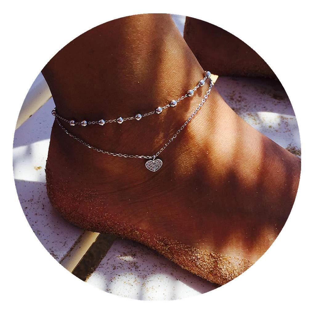 Timetries Bracelet de Cheville Amour Pendentif Femmes Pied Bijoux Pieds Nus Sandale Plage Cheville Bracelet mei_mei9