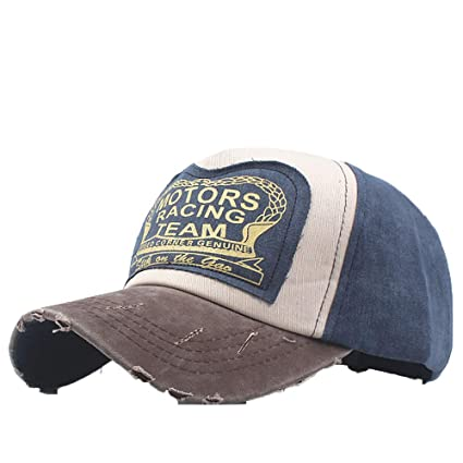 82754617c04 Amazon.com  Vintage Washed Denim Cotton Motors Racing Team Baseball Cap  Motorcycle Patchwork Hat Dad Hat (H)  Arts
