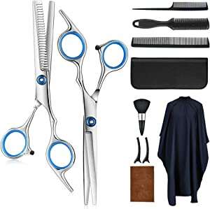 Hair Scissors Cutting Kit, Professional Stainless Steel Hair Cutting Barber Shears Thinning Scissors for Human/Kid/Adults/Pet, 11 Pcs Haircut Razor Set for Salon Home Use (Barber Cape Included)