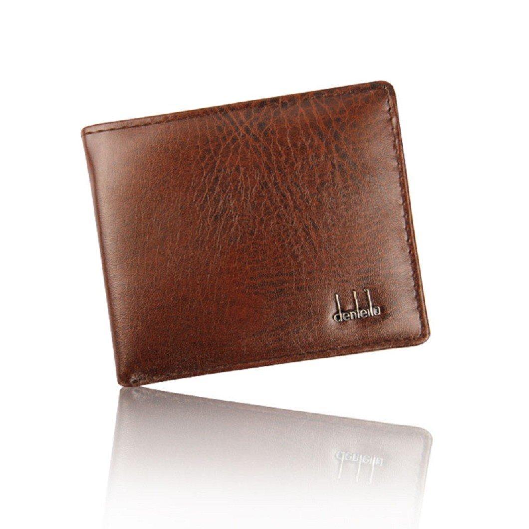 DZT1968(TM)Men PU Leather Bifold Credit Cards Holder Purses Money Wallet Gift (Brown)