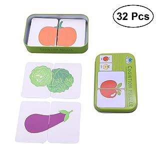 Toyvian 32Pcs Cognition Puzzle Jigsaw Flash Cards Educazione precoce Apprendimento Giocattoli con Scatola di Latta (Frutta)