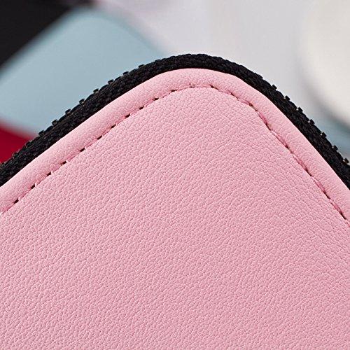 Porte Carte Main Hrph Cuir Titulaire Crédit en Rose Femmes Zipper à Sac Filles Bourses Wallet Portefeuilles PU Clutch Tassel de Coin wqI17qO