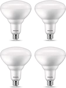 Philips LED 558049 BR40 Flicker-Free Flood Light Bulb with EyeComfort Technology: 2175-Lumen, 2200-2700K, 20 (150W Equivalent), E26 Base, Soft White with Warm Glow Dimming, 4-Pack, Title 20 Compliant