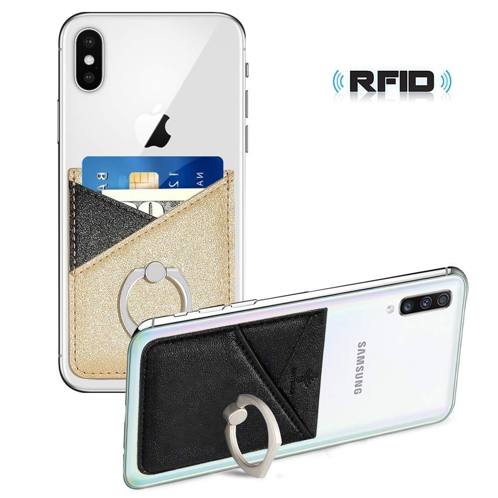 Phone-Card-Holder-Wallet-Pocket SS Phone Card Holder RFID Blocking Sleeve with Finger Ring Stick on Back of Phone for Most Smartphones Black Pink